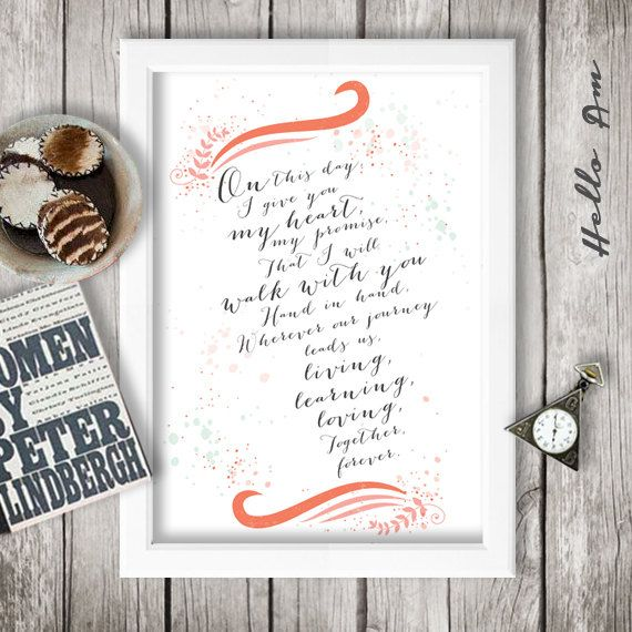 ▻ ABOUT THIS WEDDING VOW DESIGN: :: This art work will be ...