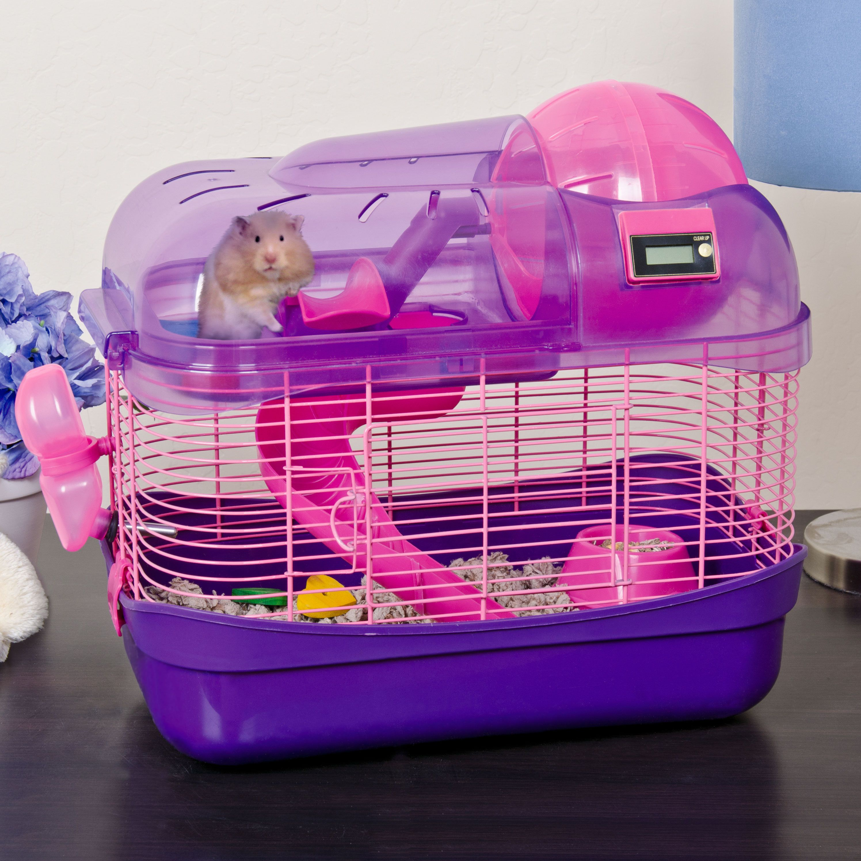 Ware spin city health club hamster cage purple spin for Plastic bin guinea pig cage
