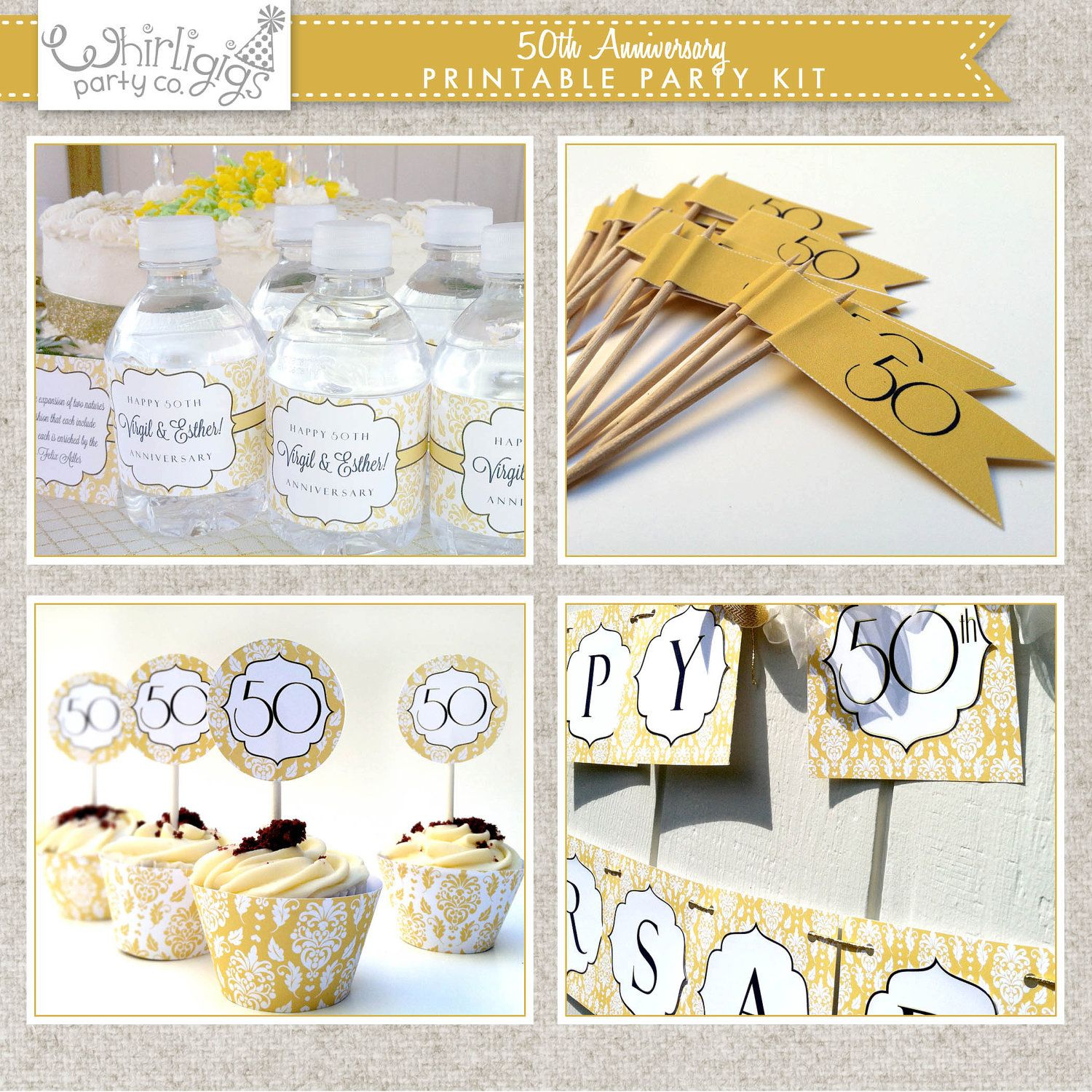 50th Golden Anniversary Printable Party | Anniversary parties ...