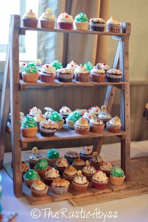 46 Creative Ways To Use Ladders On Your Big Day Rustic Cupcake Stands Diy Cupcake Stand Cupcake Stand