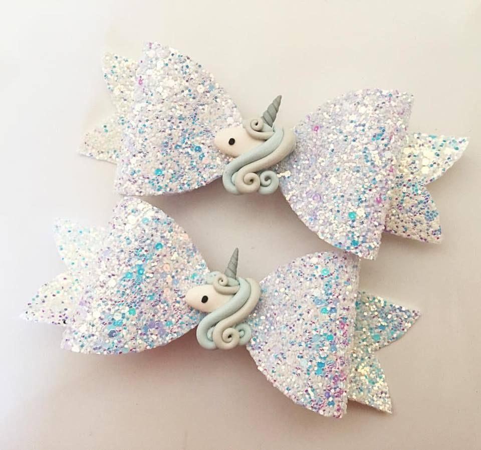 handmade glitter unicorn bow hair