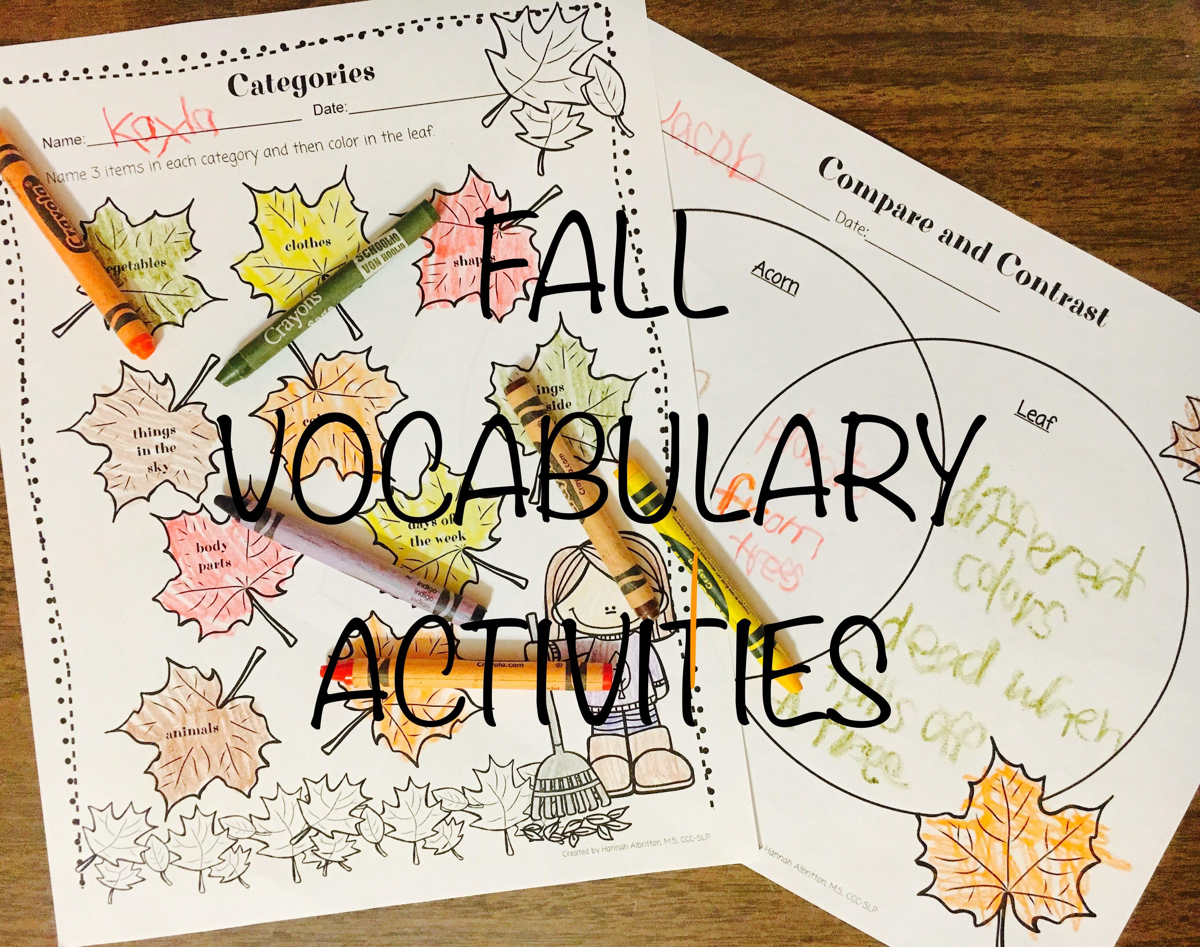 No Prep Fall Vocabulary Activities