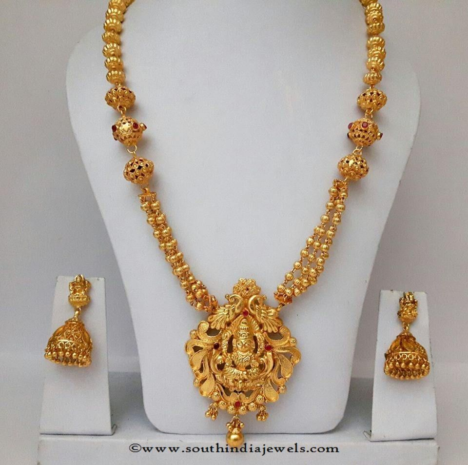 ac3504f909603 Gold Plated Long Haram with Jhumka | Jhumikis | Jewelry, Gold haram ...
