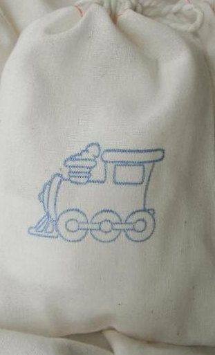 Party BAGS Cotton Boy Party MUSLIN bags 15 Stamped TRAIN 4x6 Cotton Drawstring Bags children gift bag kid birthday party shower baby favor. $15.95, via Etsy.