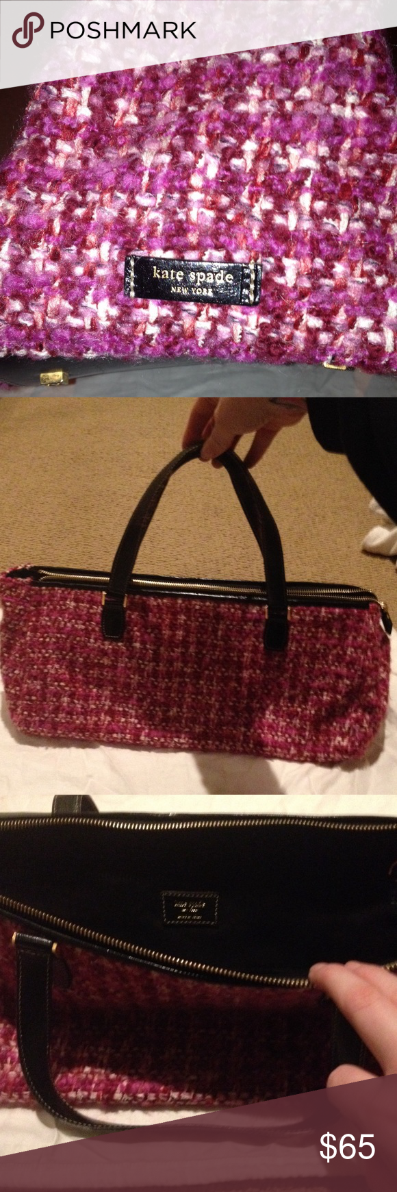 Kate Spade Hangbag Kate Spade HandBag . Knitted design. Includes protective storage back. Has been stored in the bag always. In great condition. kate spade Bags