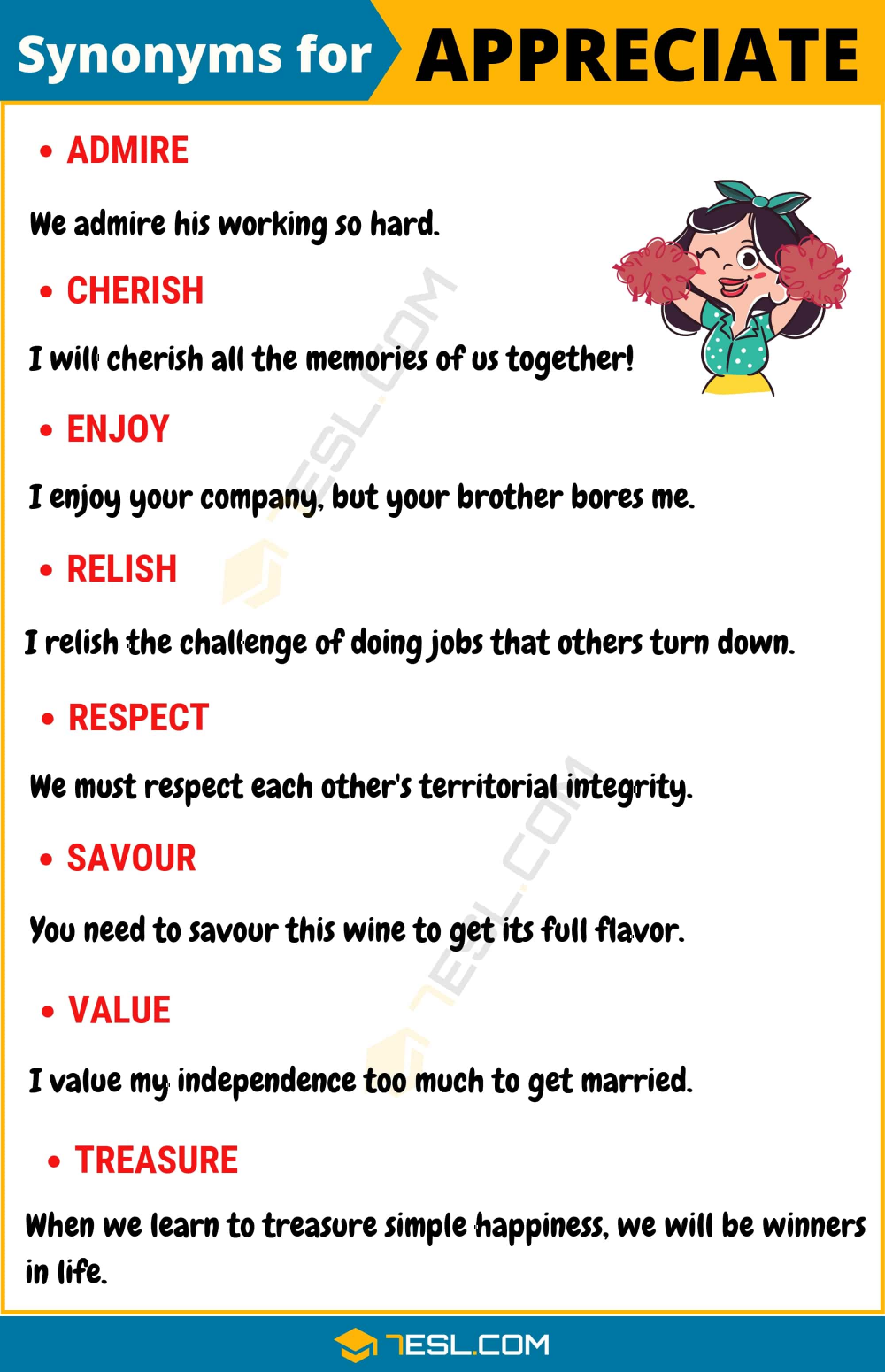 Another Word For Appreciate 100 Synonyms For Appreciate With Examples 7esl English Vocabulary Words English Words Essay Writing Skills