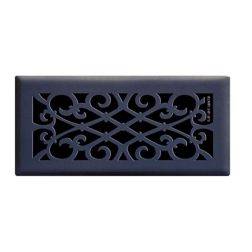 Hampton Bay 4 In X 10 In Elegant Scroll Floor Register In Matte Black E1402 Mb 04x10 Floor Registers Decorative Vent Cover Floor Vents