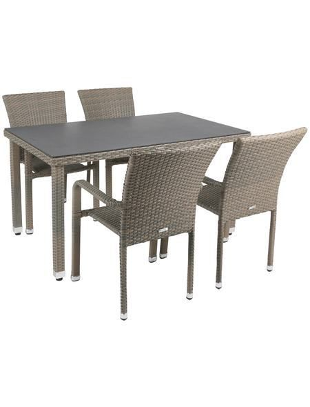 Gartenmöbel-Diningset »Manila«, 5-tlg., 4 Stühle. Tisch 140x80 cm ...