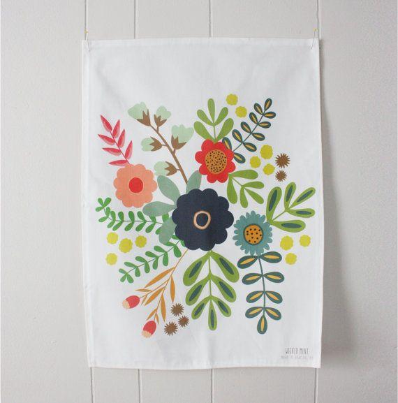 Linen Tea Towel Flower Bouquet Print Perfect For By Wickedmint