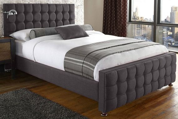 Jacobs Linen Buttoned 4ft6 Double 5ft King Size 6ft Super Bed Frame