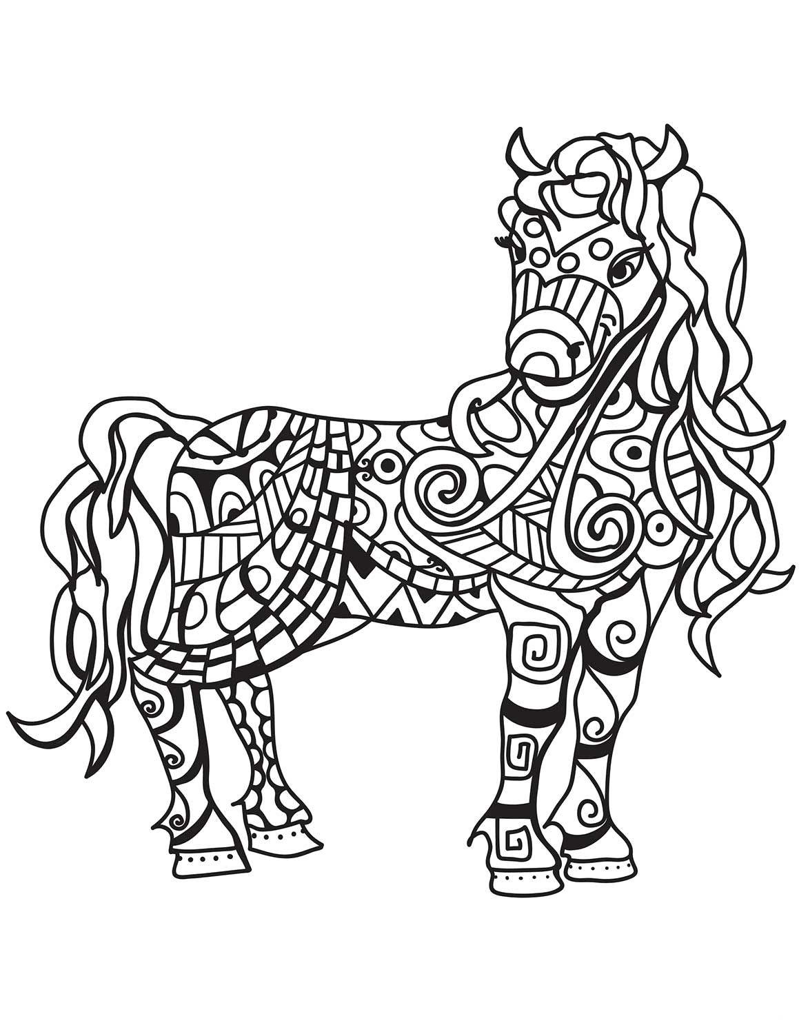 Horse Zentangle Coloring Page Horse Coloring Pages Horse Coloring Horse Coloring Books