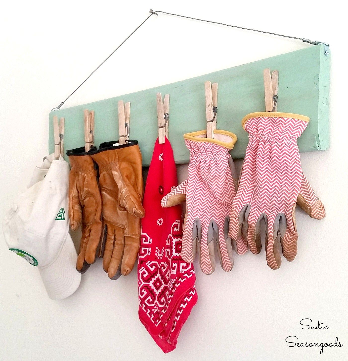 diy gardening glove clip board organizer made from repurposed