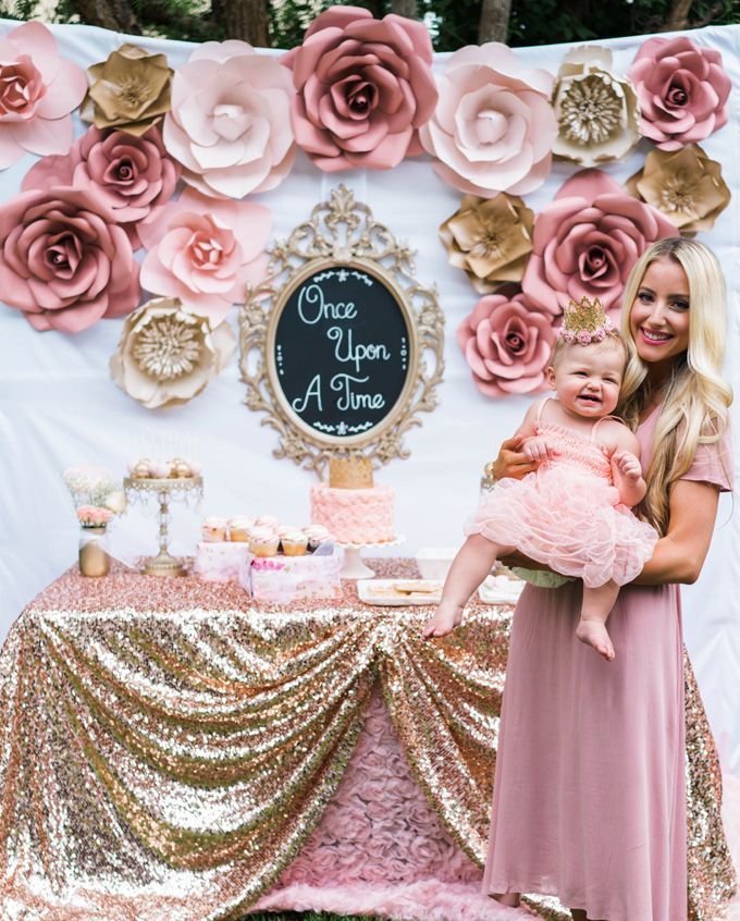 Once Upon A Time 1st Birthday Party Idea Flower Backdrop Birthday Dessert Table Baby Girl Birthday Theme 1st Birthday Party For Girls Girl Birthday Themes