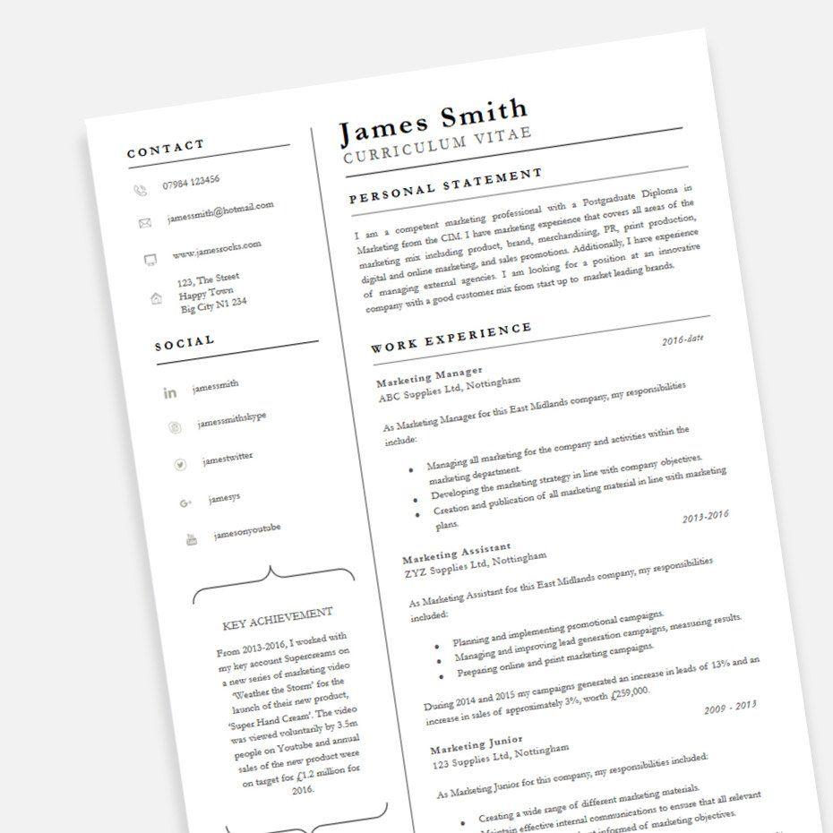 Professional CV template in Word 'Achiever' design Cv