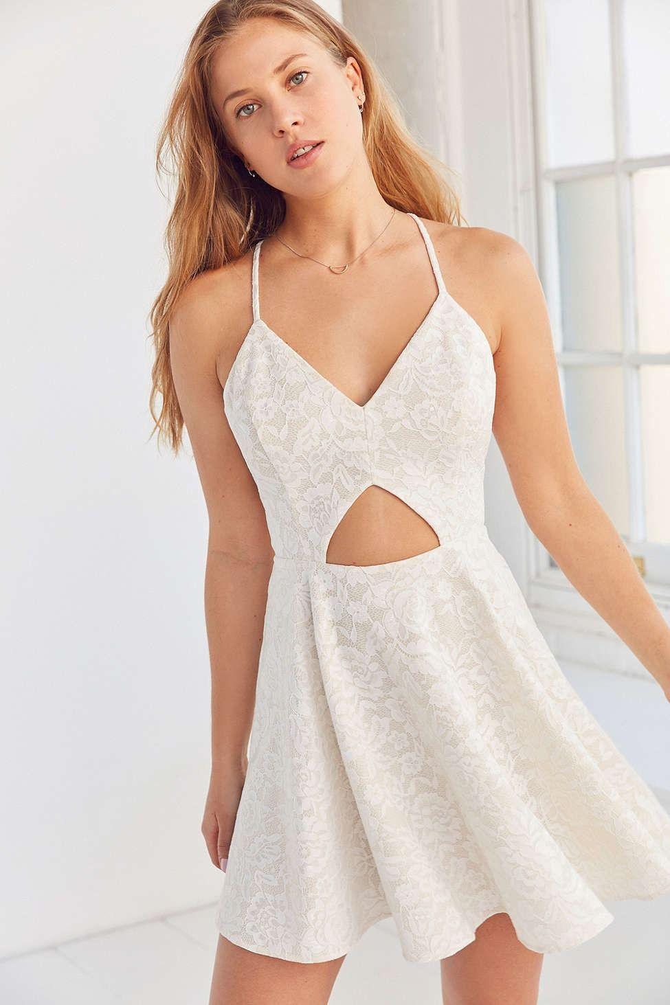 55e46928e4ff Kimchi Blue Cutout Lace Fit + Flare Dress - Urban Outfitters