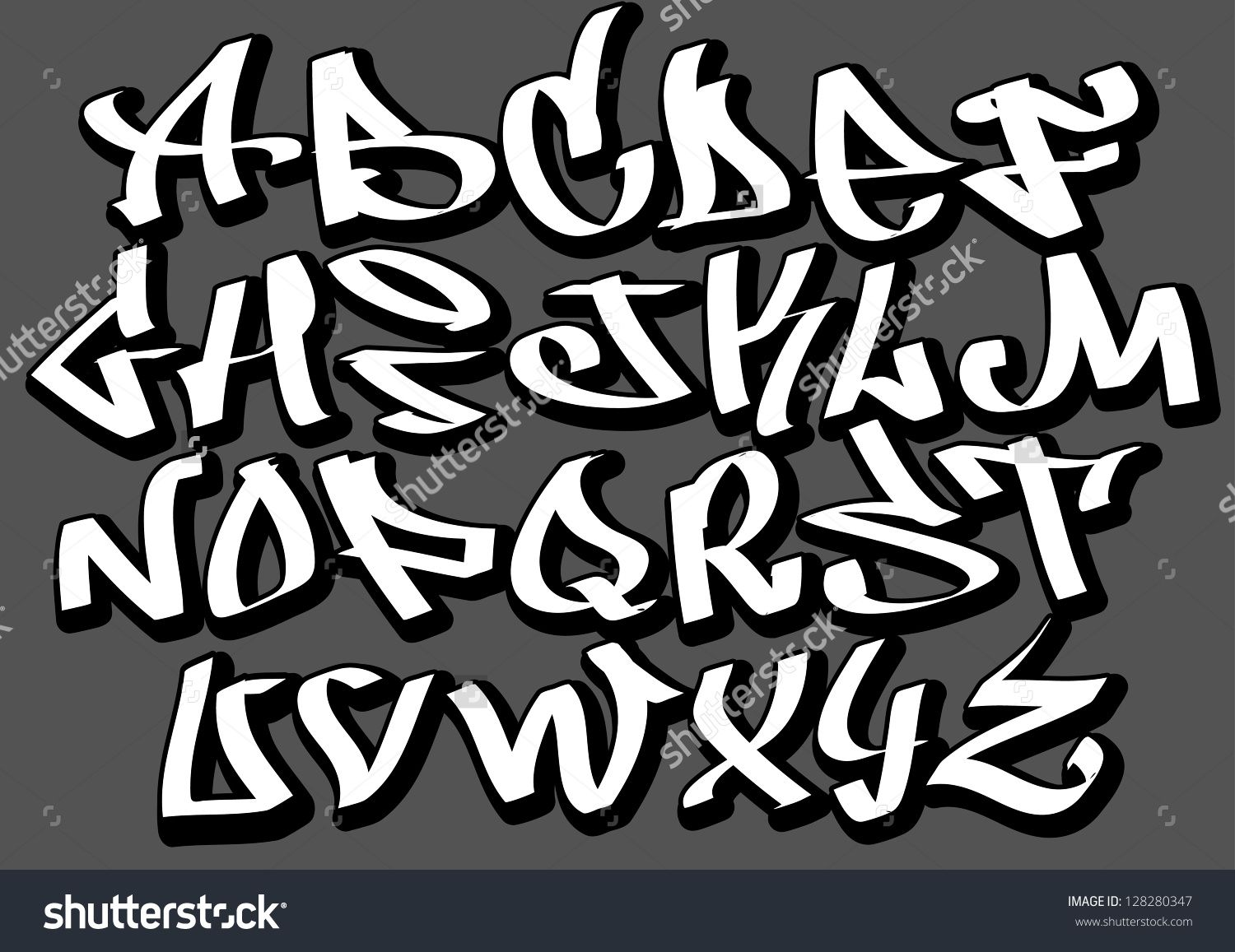 stock vector graffiti font alphabet letters hip hop type grafitti design 1500. Black Bedroom Furniture Sets. Home Design Ideas