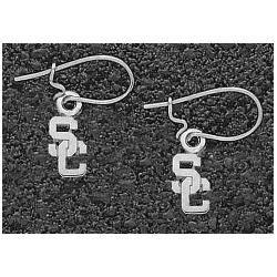LogoArt USC Trojans Sterling Silver Team Font 7/16 Dangle Earrings