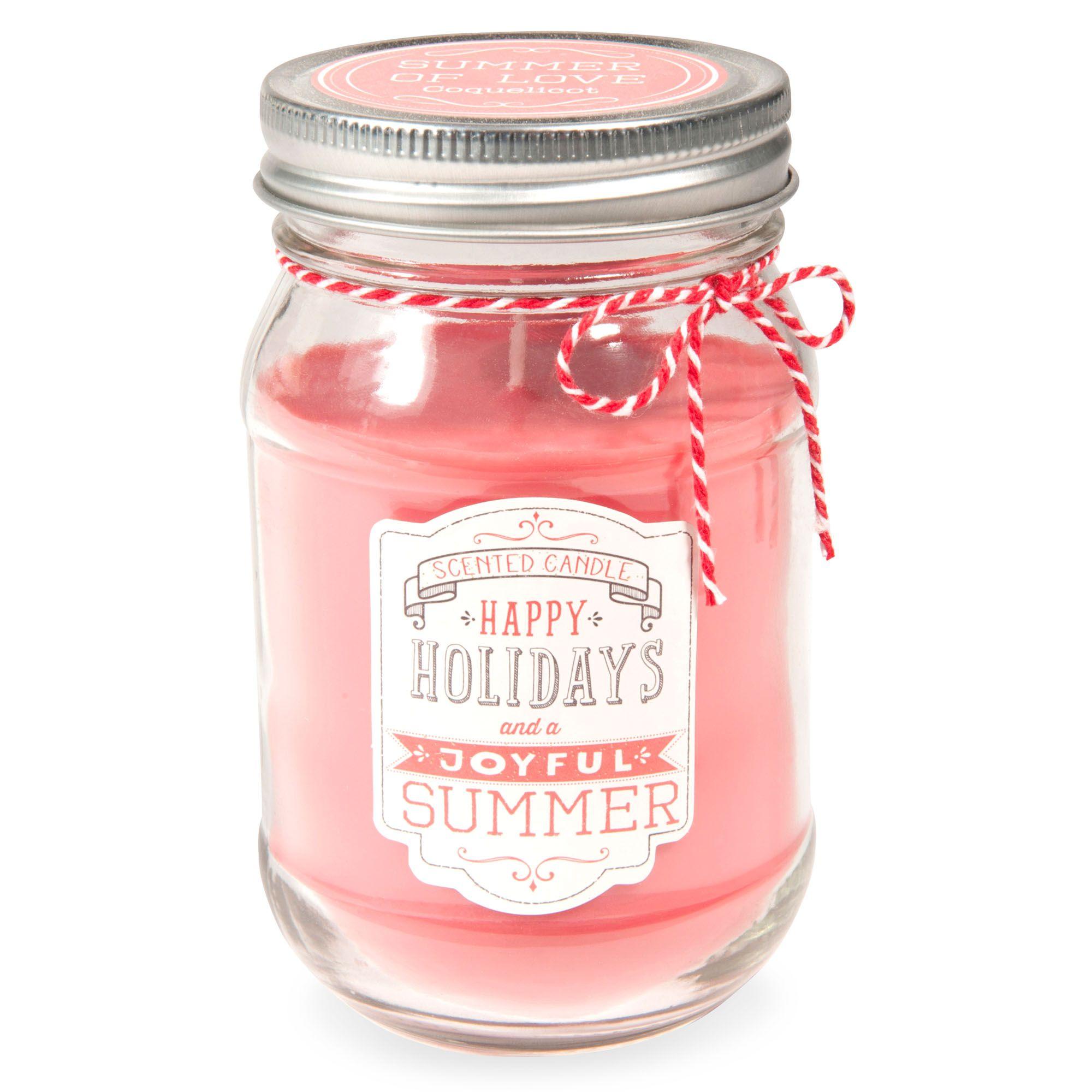 Bougie bocal parfumée coquelicot en verre corail JOYFUL | Maisons