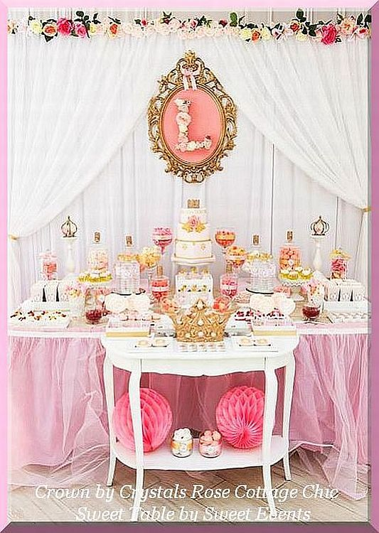 Dessert Sweet Table Crown Decor Color Choices Baby Shower Dessert Table Princess Birthday Party Baby Shower Princess