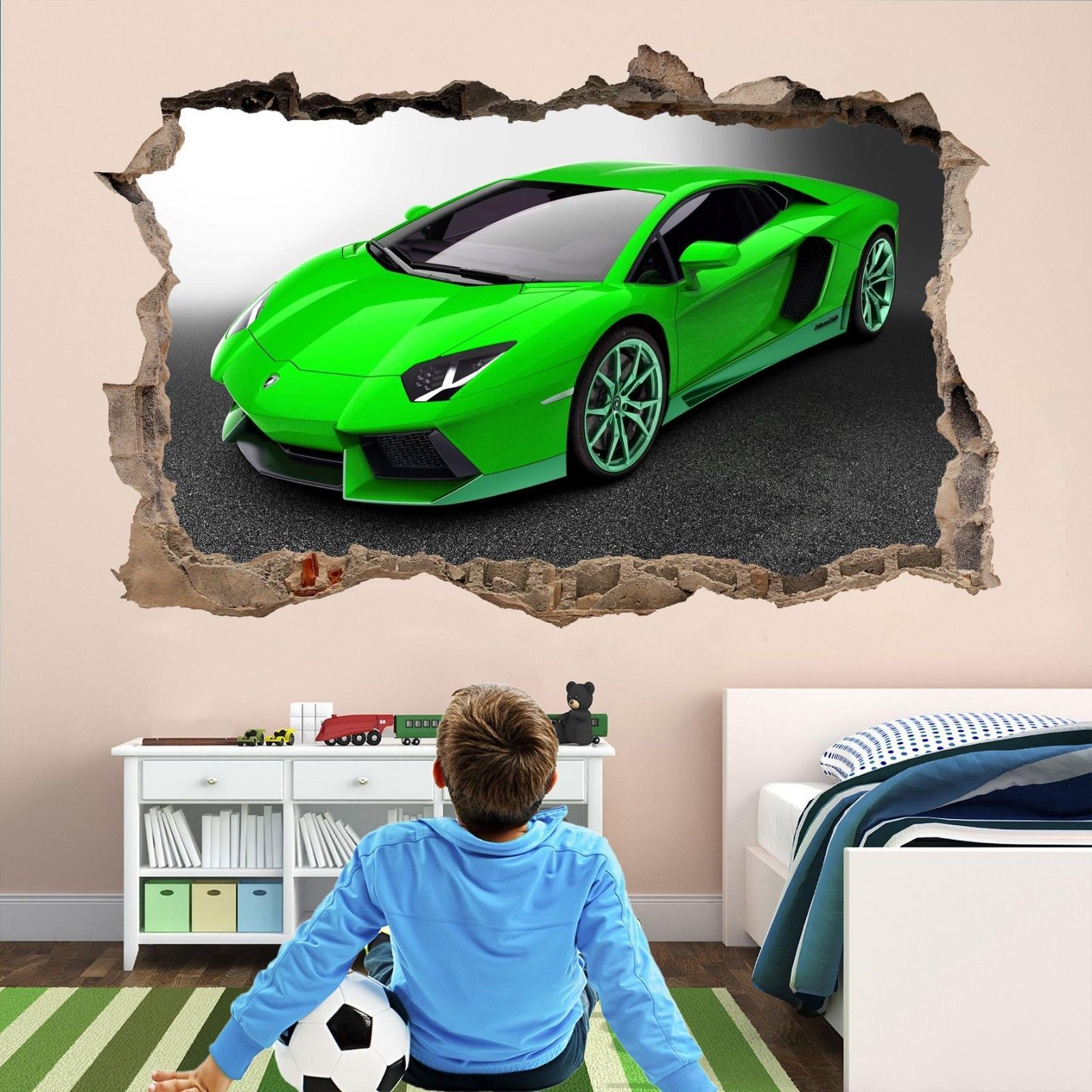 Lamborghini Super Car Wall Stickers Mural Wallpaper Kids Bedroom Home Decor Ap11 Ebay Car Themed Bedrooms Boy Room Paint Boys Room Mural