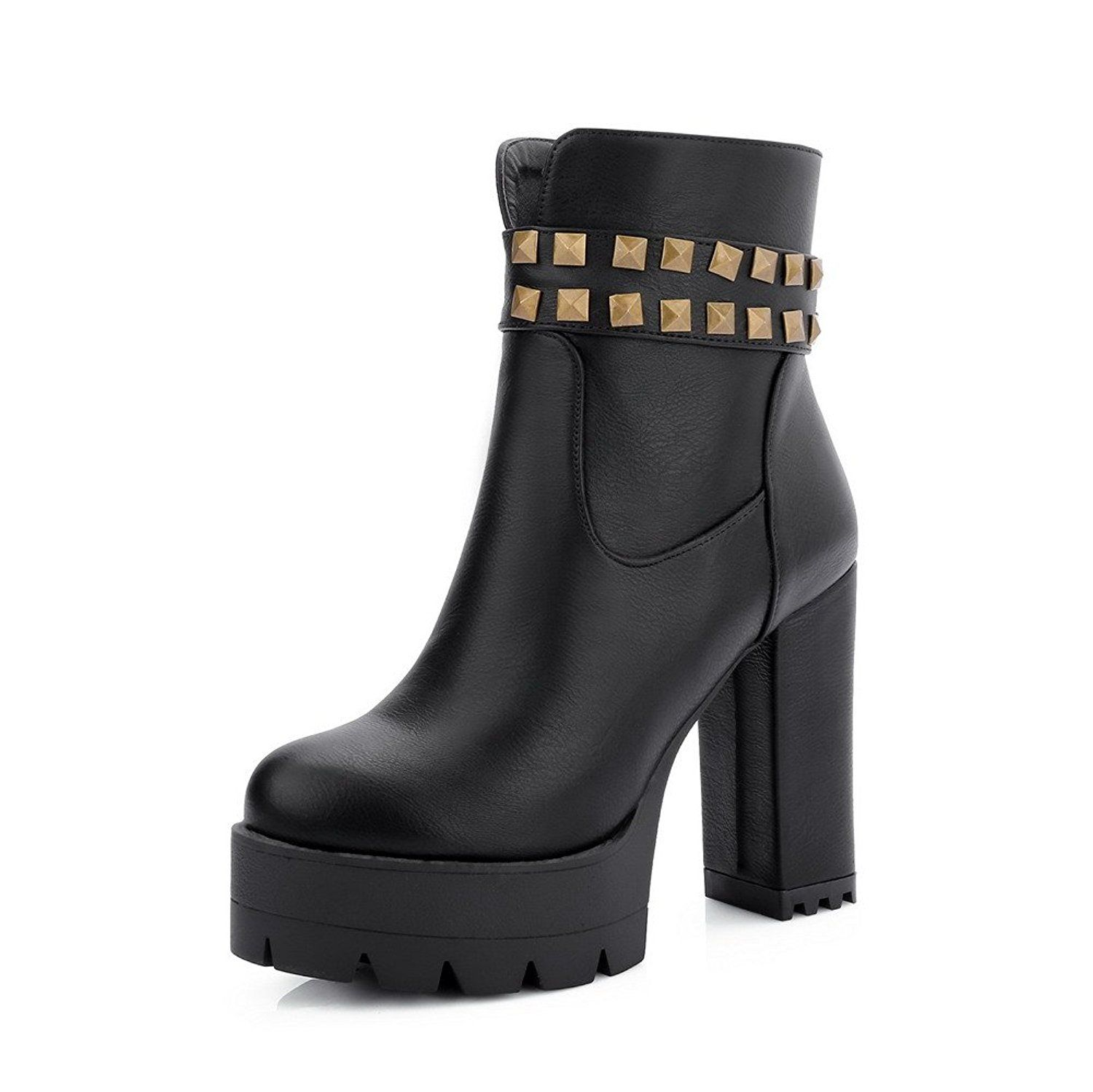 Women's Low-top Zipper Soft Material High-Heels Round Closed Toe Boots