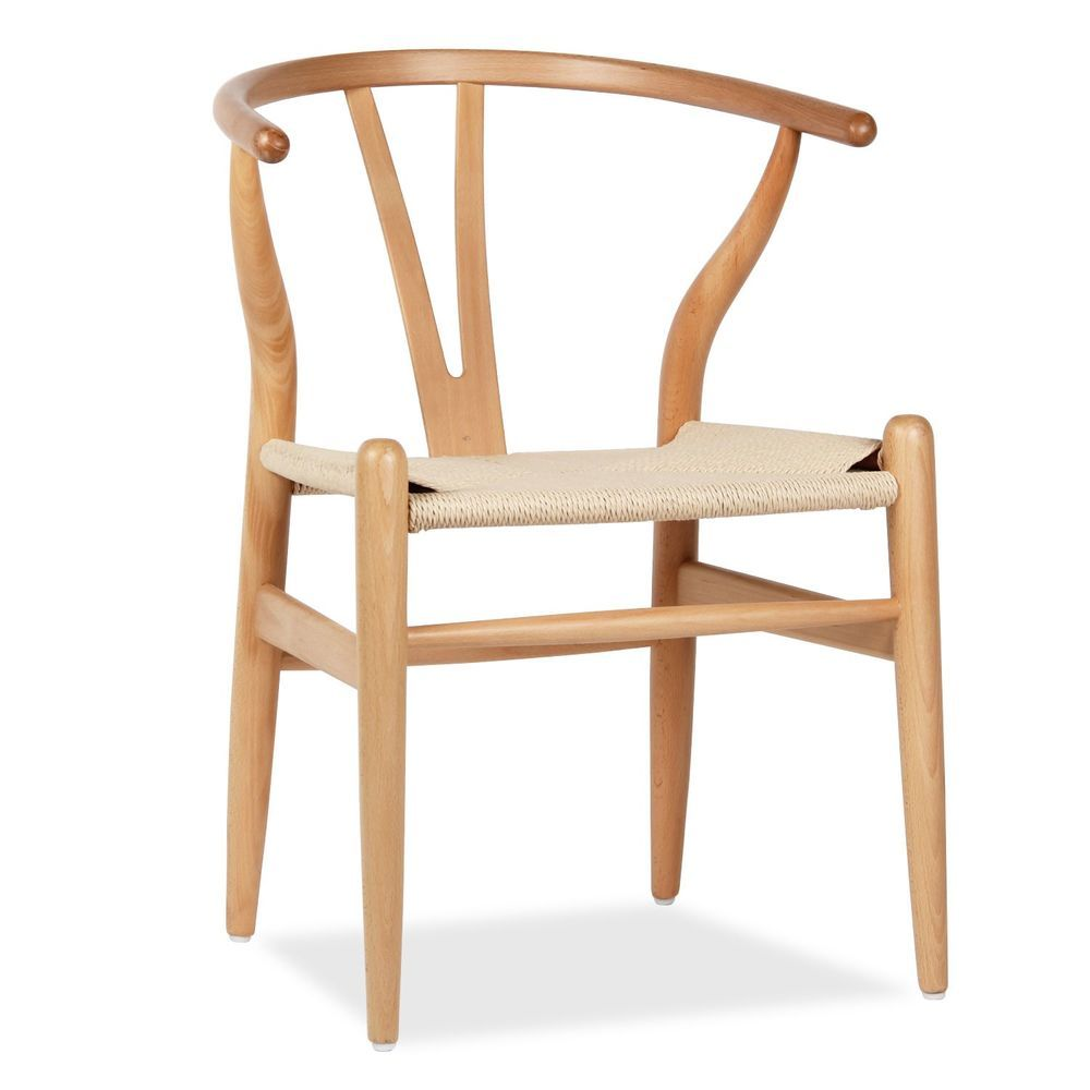 Fer Chair Natural Beech Wood Inspiración Wishbone De Hans J