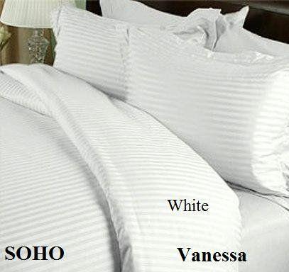 Soho Egyptian Cotton 600 Thread Count Sateen Stripe 4 Pc Comforter Set White King By Vanessa Collections Comforter Sets Egyptian Cotton Bed Comforter Sets