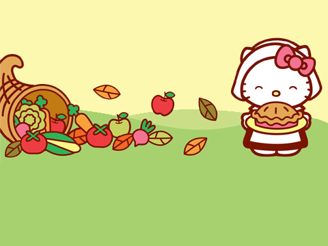 Group Of Hello Kitty With Pie Thanksgiving Scene We