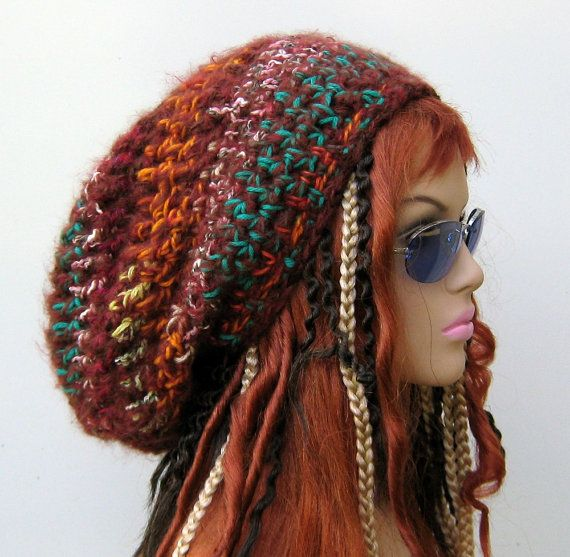 Long Patchwork hippie dread tam slouchy beanie hat dreadlocks