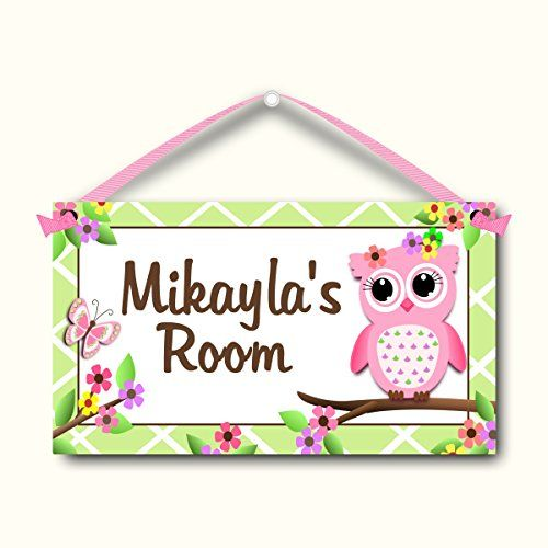 Owl And Butterfly Kids Door Sign Personalized Room Plaque Childrens