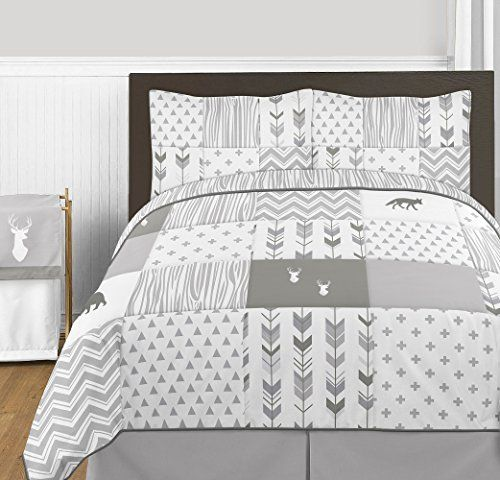 camping theme window curtains - Grey and White Woodsy Deer Boy or Girl Full / Queen Kid Childrens Bedding Comforter Set by Sweet Jojo Designs - 3 pieces *** More info could be found at the image url. (This is an affiliate link) #CampingIdeas