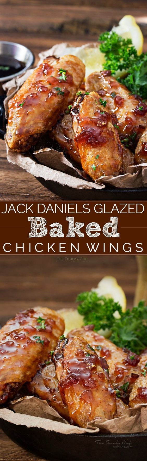 Jack Daniels Glazed Baked Chicken Wings   No need to fry... these baked chicken wings are SUPER crispy! Coated in a flavor-packed copycat Jack Daniels sauce, they're the perfect appetizer!   http://thechunkychef.com
