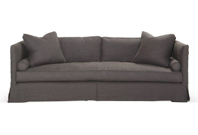 Oliver Slipcover Sofa Dark Gray Sofa Settee Sofa