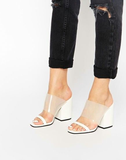 Asos  Clear strap white block heel mule sandals SS15  e9afb487965