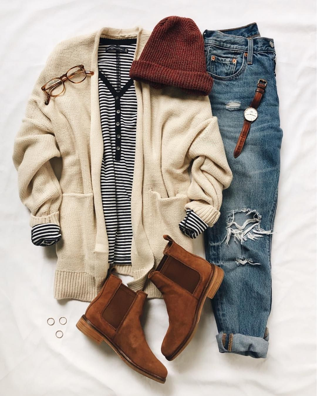 "Olivia • LivvyLand on Instagram: ""All the cozy feels...️�Chunky cardigan layered up with stripes (this henley is adorable!!), the perfect pair of jeans (missing these and…"""