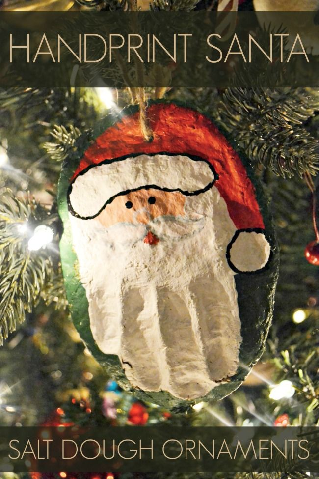 Hand Print Santa Salt Dough Ornament cute  easy kids craft