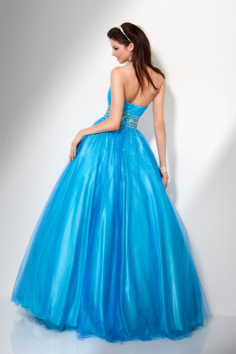 Blue Ball Gown Strapless Floor Length Zipper Prom Dresses With ...