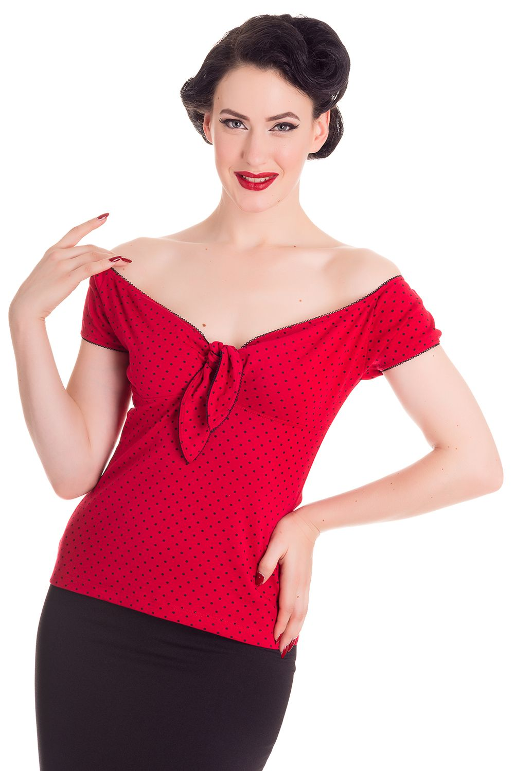 876e895fb229a Hell Bunny Cilla Red and black polka dot top.