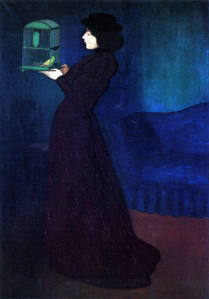 József Rippl-Rónai: Woman with a Bird Cage, 1892. Lähiväriharmonia; väriympyrän vierekkäiset värit samassa neljänneksessä, tässä violetti, sininen