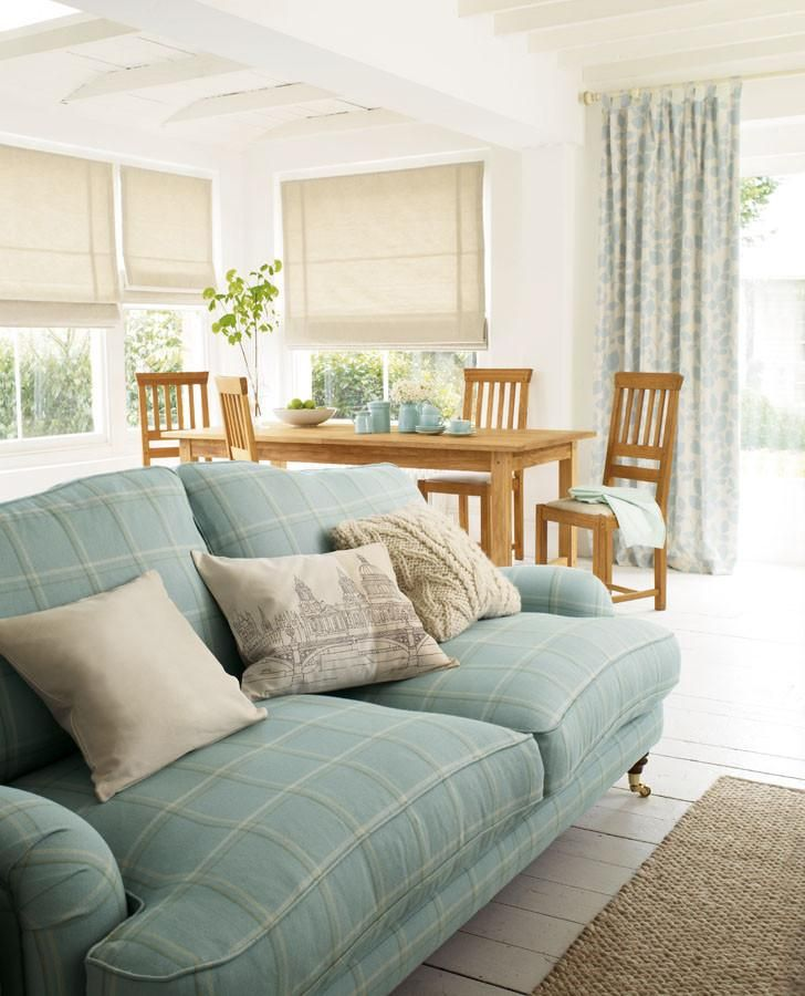 Corby Check Duck Egg Upholstery Fabric #lauraashleyhome | Duck Egg Blue Living Room, Laura Ashley Living Room, Blue Living Room