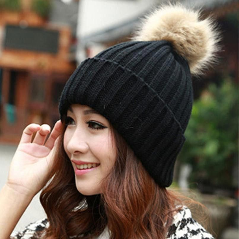 Bonnet Femme Beanie Hat Kawaii Fur Ball Knitted Winter Hats For Women Warm  Outwear Gifts Beanies Hat Bones Feminino A11  ballhatsforwomen c17e36f9427e