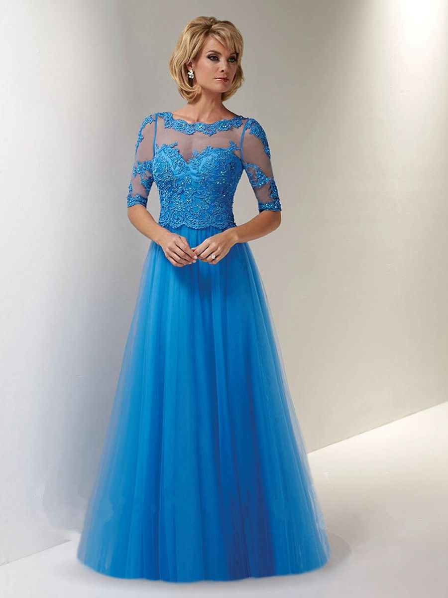 A-Line Long Blue Illusion Neckline Lace and Tulle Mother of The ...