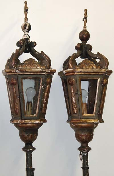 Pair Of Venetian Neoclassical Gondola Lanterns Mounted On Poles With Largely Original Polyc Antique Lanterns Rustic Lanterns Decorative Light Switch Covers