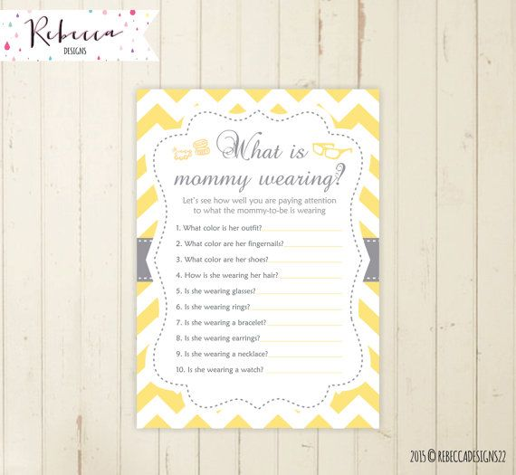 What Is Mommy Wearing Game Baby Shower Game Yellow Baby Shower Guessing Game  Mommy Clothes Game