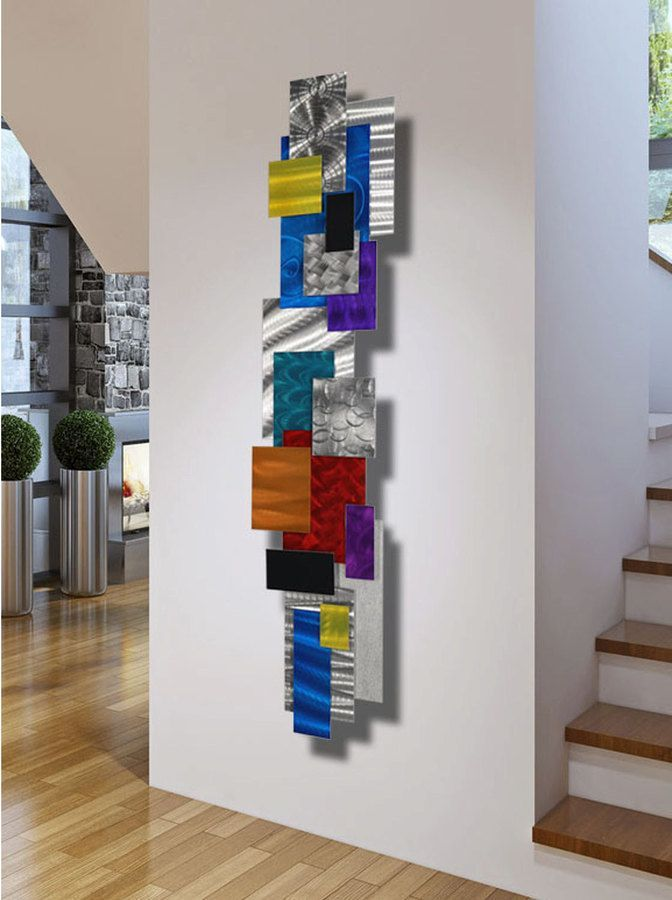 Beautiful Vertical Wall Art It S Really Colorful And The Square And Rectangle 3d Look Of The Pieces L Vertical Wall Art Hanging Wall Art Modern Metal Wall Art