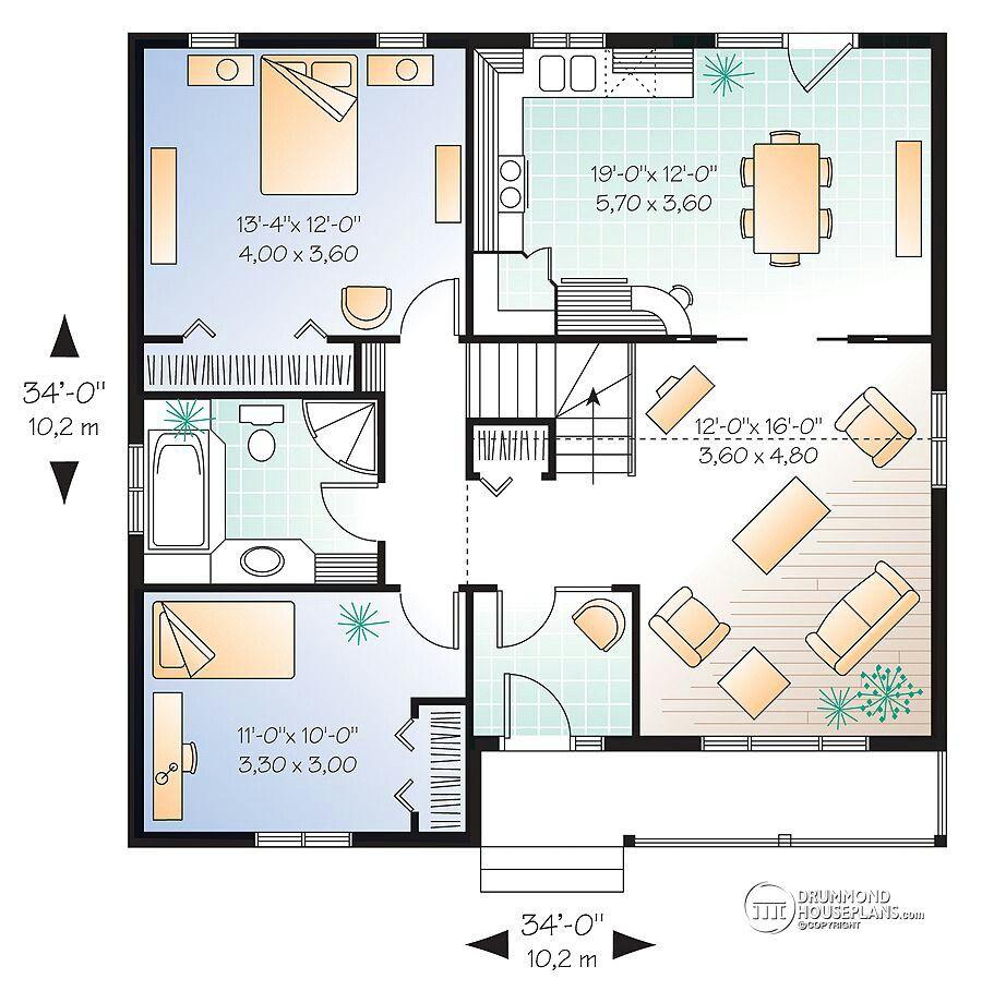 Casa Azul De 2 Quartos House Plans Drummond House Plans Ranch Style House Plans