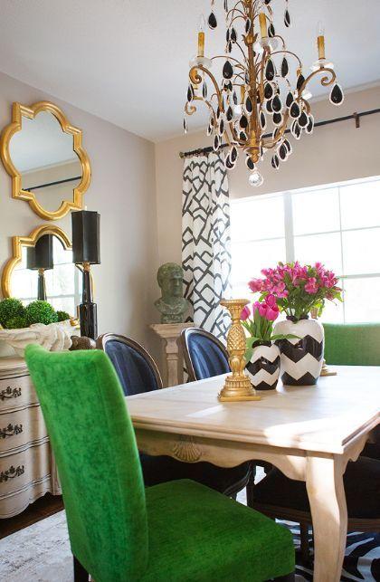 Amanda Carol Interiors Emerald Green Gold Mirrors: Glam Dining Space
