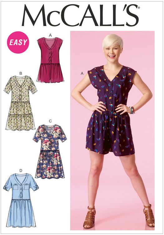 Misses Romper and Dresses McCalls Sewing Pattern No. 7115. | Sewing ...