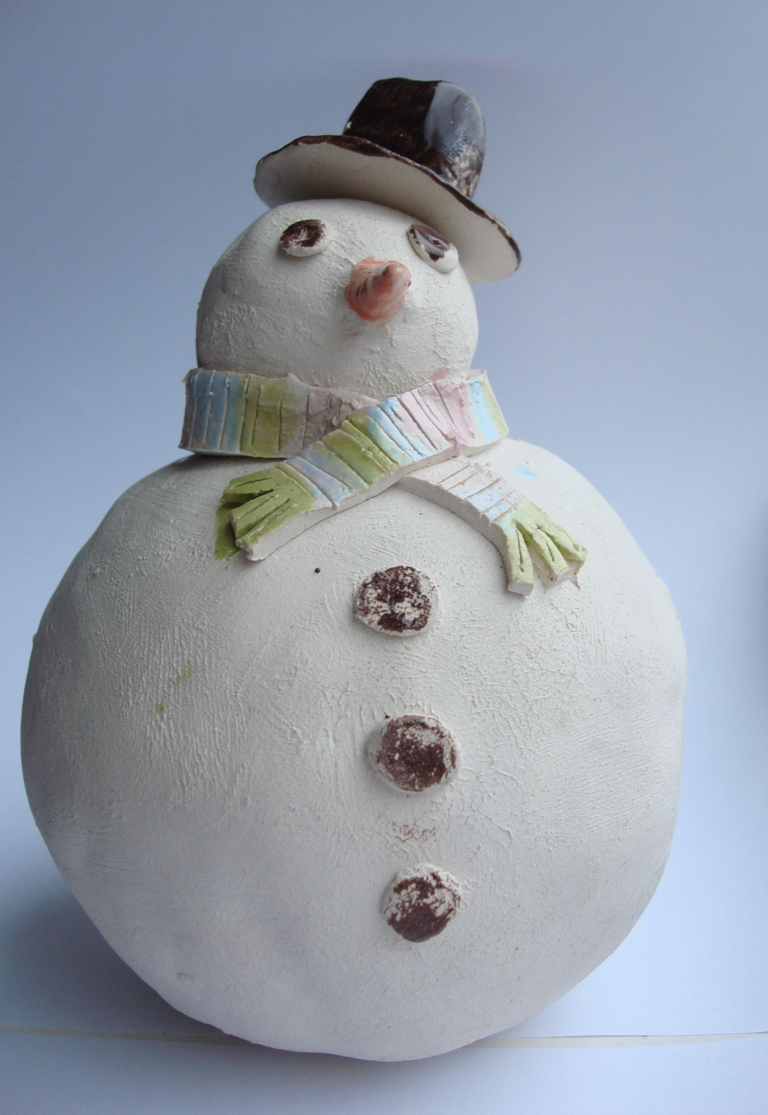 pinch pot snowman childrens project