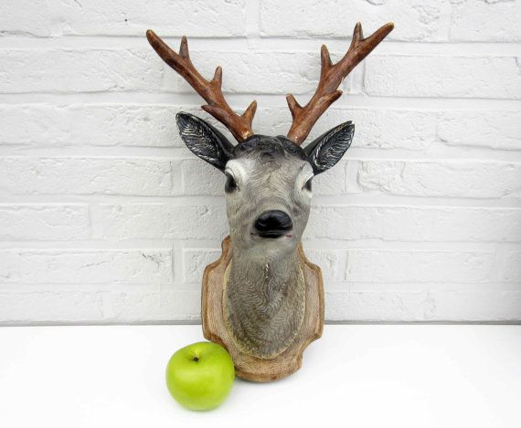 Vintage faux taxidermy ROE HEAD painted plaster by LeFrenchBazaar on Etsy